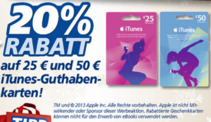 iTunes Karte Real 20 Prozent