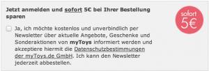 mytoys newsletter 5€ rabatt