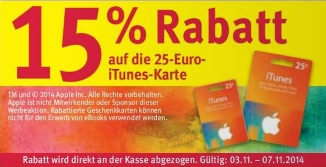 rossmann 15 rabatt auf die 25 itunes karte. Black Bedroom Furniture Sets. Home Design Ideas